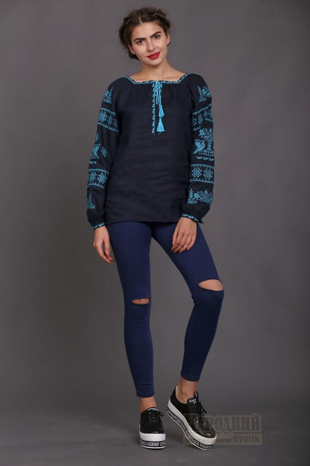 Вышиванка женская из темно-синего льна e6d93277b3bb4