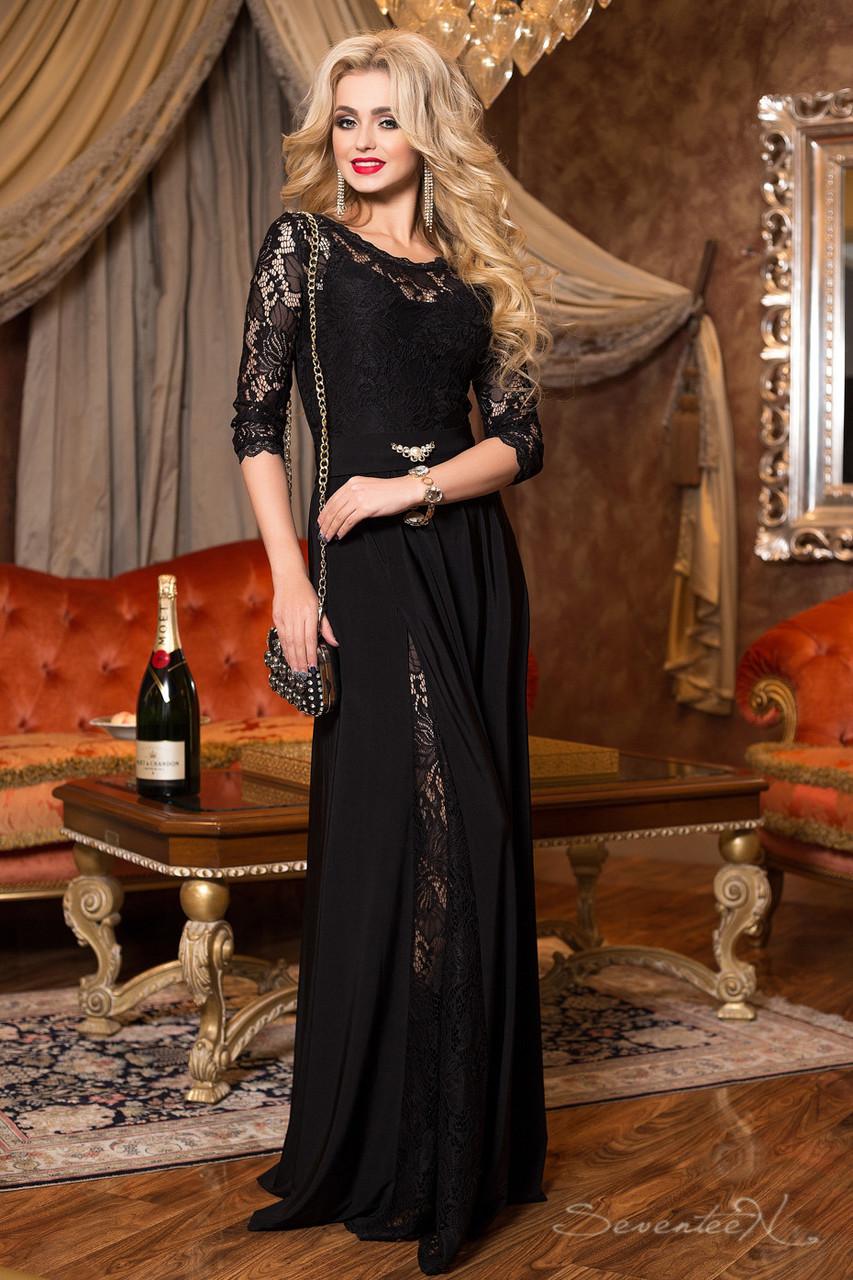 Платье вечернее чёрное женское