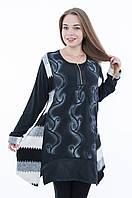 Женская туника БАТАЛ темно-серого цвета 8040, фото 1