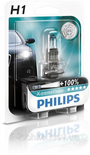 Лампа галогенная philips h1 x-treme vision +130% 3700k 1 шт (12258xv+b1)