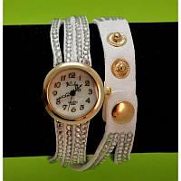 Женские наручные часы-браслет на ремешках со стразами, белые