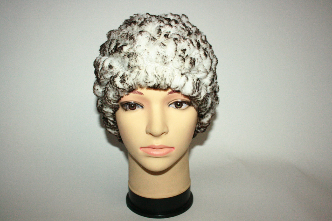 Женская шапка зимняя из натурального меха (вязаная)