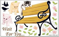 Наклейка виниловая Коты у скамьи 3D декор