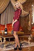 Коктельное мини платье, бордо, эко замш, размеры 44-50
