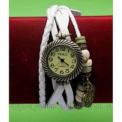 """Женские наручные часы-браслет с бусинами, шнурами и подвесками """"Маллоу"""", белый"""