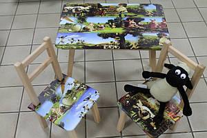 Детский стол и стульчики для занятий рисунок Барашек Шон
