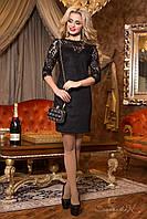 Коктейльное мини платье, чёрное, эко замш, размер 46