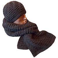 Мужская вязаная шапка (утепленный вариант) и шарф объемной ручной вязки