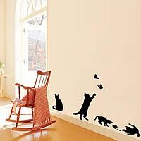 Наклейка виниловая Коты с бабочками 3D декор