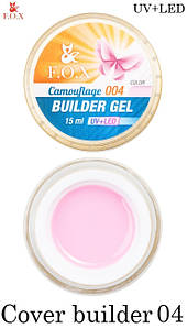 Камуфлирующий гель F.O.X Cover (camouflage) builder gel UV+LED №004,15 мл