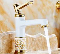Смеситель кран однорычажный в ванную комнату белый, фото 1