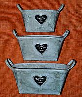 Кашпо овальные с сердечками комплект АМ-0167