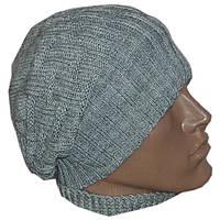Вязаная мужская шапка - носок машинной вязки , светло серого цвета