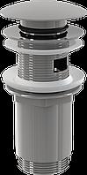 Водослив для умывальника click/clack 5/4 AlcaPlast A392 цельнометаллический с большой заглушкой
