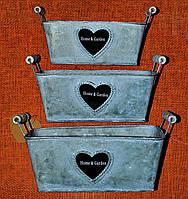 Кашпо прямоугольные с сердечками комплект АМ-0169