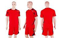 Форма футбольна без номера CO-3021-R (XXL) червона з чорними вставками