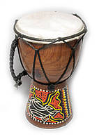 Барабан с росписью дерево с кожей (15х9,5х9,5 см)
