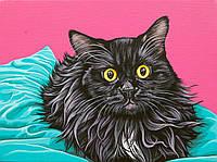 Аппликация, наклейка на ткань Черный кот [7 размеров в ассортименте]