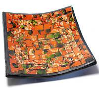 Блюдо терракотовое с оранжевой мозаикой (14,5х14,5х2 см)