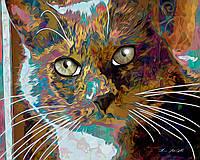 Наклейка на ткань Рисованный кот [7 размеров в ассортименте]
