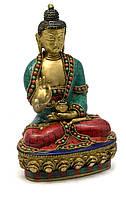 Будда бронзовый бирюза, кораллы (21х13х9 см)