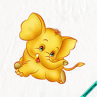 Аппликация, наклейка на ткань Слоник желтый [7 размеров в ассортименте]