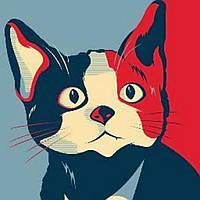 Наклейка на ткань Смышленый котик [7 размеров в ассортименте]