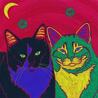 Наклейка на ткань Два кота [7 размеров в ассортименте]