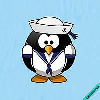 Наклейка на ткань Пингвин Морячок [7 размеров в ассортименте]