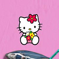 Аппликация, наклейка на ткань Hello Kitty с Цветами [7 размеров в ассортименте]