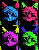 Наклейка на ткань РазноЦветные коты [7 размеров в ассортименте]