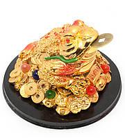 """Жаба на монетах с камнями """"золото"""" (13,5х13,5х8,5 см)"""