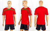 Форма футбольна без номера ZA CO-2557-R(XXL) червона футболка, чорні шорти