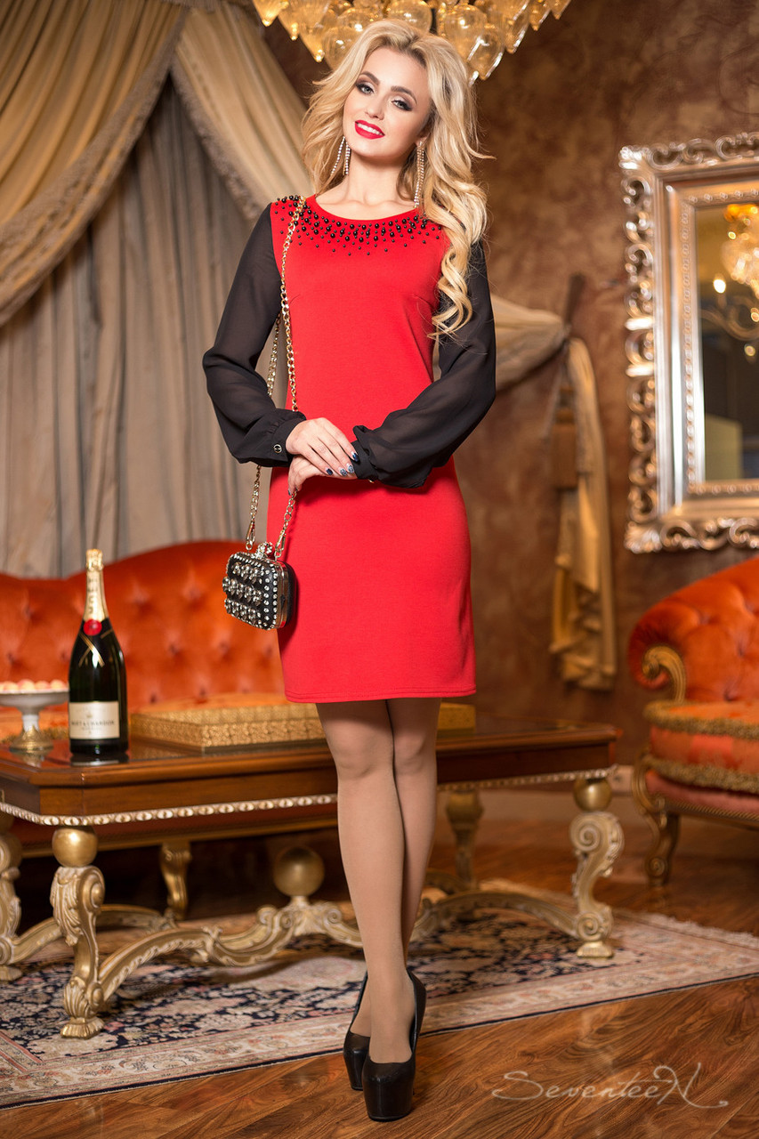 Красное нарядное платье женское, размеры от 44 до 50, трикотаж джерси