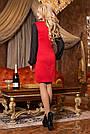Красное нарядное платье женское, размеры от 44 до 50, трикотаж джерси, фото 3