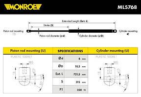 Амортизатор капота для Skoda SuperB ( MONROE ML5768 )