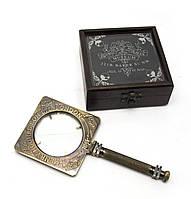 """Лупа бронзовая """"Sherlock Holmes"""" антик в деревянном футляре (лупа 9,5х21см футляр 12х12х5 см)"""