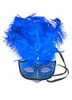 Маска венецианская с перьями синяя (25х16х5 см)