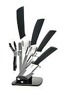 Ножи керамические на подставке (набор 4 ножа+чистилка)