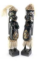 Папуасы пара резные дерево черные (34х6х5 см)
