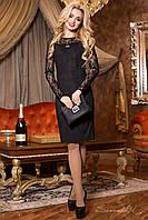Красивое и элегантное платье из эко замша, с рукавами из гипюра, чёрное, размер 44, 46, 48, 50