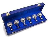 Рюмки бронзовые посеребренные  (н-р 6 шт)(h- 6,5 см)(38х9,3х6,5 см)