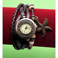 """Женские наручные часы-браслет с бусинами, шнурами и подвесками """"Морская звезда нуар"""", черный"""