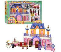 Домик для кукол Замок принцессы с каретой, арфой, мебелью, фигурками