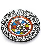 Тарелка терракотовая с мозаикой (d-14,5 см h-4,5 см)