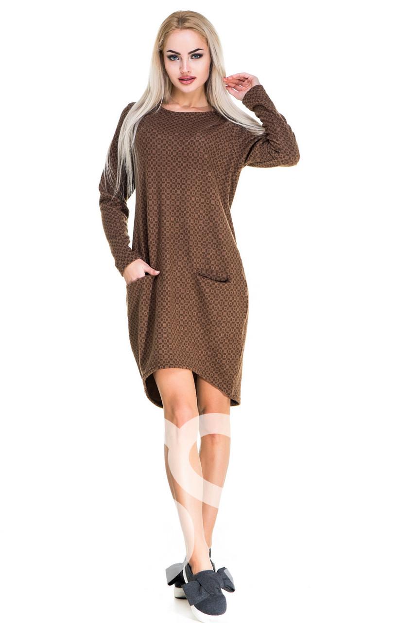 Теплое платье с принтом  карманами