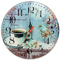 """Часы настенные """"Кофе с птицей"""" стекло (d-20 см)(тихий ход)"""