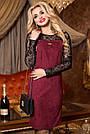 Красиве та елегантне плаття р. від 44 до 50, замша еко, бордо, фото 4