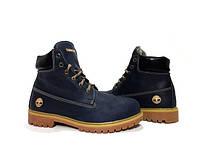 Зимние мужские ботинки на меху Timberland dark blue leather, фото 1