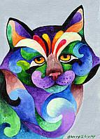 Аплпикации, латки на тапочки Красочный кот [7 размеров в ассортименте]